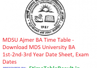 MDSU Ajmer BA Time Table 2019 - MDS University BA 1st-2nd-3rd Year Date Sheet, Exam Dates