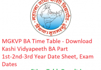 MGKVP BA Time Table 2019 - Download Part 1st-2nd-3rd Year Date Sheet Kashi Vidyapeeth, Exam Dates