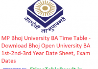 MP Bhoj University BA Time Table 2019 - Download 1st-2nd-3rd Year Date Sheet Bhoj Open University, Exam Dates