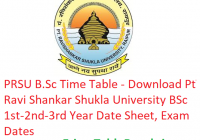 PRSU B.Sc Time Table 2019 - Download Pt Ravi Shankar Shukla University BSc 1st-2nd-3rd Year Date Sheet, Exam Dates