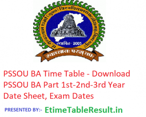 PSSOU BA Time Table 2019 - Download Part 1st-2nd-3rd Year Date Sheet, Exam Dates