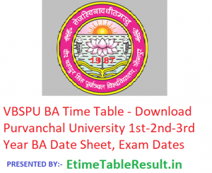 VBSPU BA Time Table 2019 - Download Part 1st-2nd-3rd Year Date Sheet Purvanchal University, Exam Dates