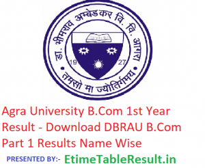 Agra University B.Com 1st Year Result 2019 - Download BCom Part 1 Results DBRAU Examination