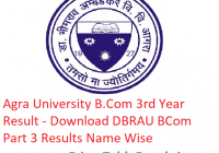 Agra University B.Com 3rd Year Result 2019 - Download BCom Part 3 Results DBRAU Examination