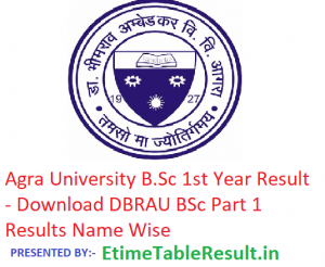 Agra University B.Sc 1st Year Result 2019 - Download B.Sc Part 1 Results DBRAU Examination