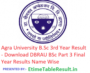 Agra University B.Sc 3rd Year Result 2019 - Download BSc Part 3 Results DBRAU Exam