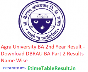 Agra University BA 2nd Year Result 2019 - Download Part 2 Results DBRAU Examination