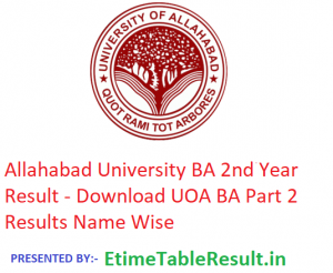 Allahabad University BA 2nd Year Result 2019 - Download Part 2 Results UOA Examination