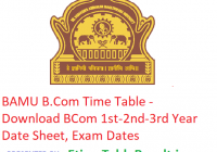 BAMU B.Com Time Table 2019 - Download BCom 1st-2nd-3rd Year Date Sheet, Exam Dates