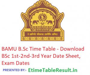 BAMU B.Sc Time Table 2019 - Download BSc 1st-2nd-3rd Year Date Sheet, Exam Dates