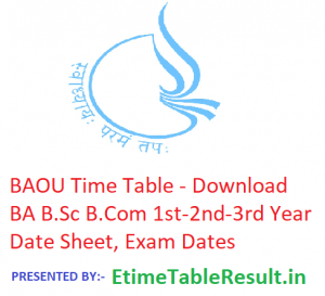 BAOU Time Table 2019 BA B.Sc B.Com - Download 1st-2nd-3rd Year Date Sheet, Exam Dates