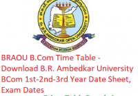 BRAOU B.Com Time Table 2019 - Download BCom 1st-2nd-3rd Year Date Sheet B.R. Ambedkar Open University, Exam Dates