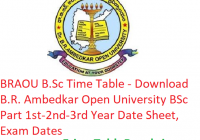 BRAOU B.Sc Time Table 2019 - Download BSc Part 1st-2nd-3rd Year Date Sheet B.R. Ambedkar Open University, Exam Dates