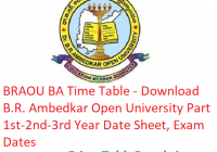 BRAOU BA Time Table 2019 - Download Part 1st-2nd-3rd Year Date Sheet B.R. Ambedkar University, Exam Dates