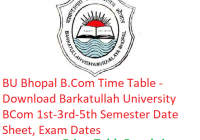 BU Bhopal B.Com Date Sheet 2019 - Download BU Bhopal B.Com 1st-3rd-5th Semester Date Sheet, Exam Dates