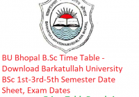 BU Bhopal B.Sc Time Table 2018-19 - Download BSc 1st-3rd-5th Semester Date Sheet Barkatullah University, Exam Dates