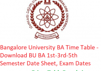 Bangalore University BA Time Table 2018-19 - Download 1st-3rd-5th Semester Date Sheet, Exam Dates