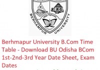 Berhampur University B.Com Time Table 2019 - Download BCom 1st-2nd-3rd Year Date Sheet BU Odisha, Exam Dates