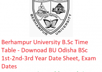 Berhampur University B.Sc Time Table - Download BSc 1st-2nd-3rd Year Date Sheet BU Odisha, Exam Dates