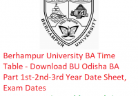 Berhampur University BA Time Table 2019 - Download Part 1st-2nd-3rd Year Date Sheet BU Odisha, Exam Dates