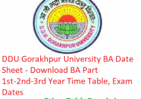 DDU Gorakhpur University BA Date Sheet 2019 - Download Part 1st-2nd-3rd Year Time Table, Exam Dates