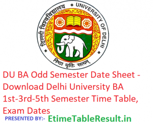 DU BA Date Sheet 2018-19 - Download 1st-3rd-5th Semester Time Table, Exam Dates