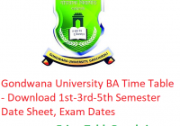 Gondwana University BA Time Table 2018-19 - Download 1st-3rd-5th Semester Date Sheet, Exam Dates