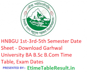 HNBGU 1st-3rd-5th Semester Date Sheet 2018-19 - Download BA B.Sc B.Com Time Table, Exam Dates