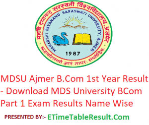 MDSU B.Com 1st Year Result 2019 - Download BCom Part 1 Exam Results MDS University Ajmer
