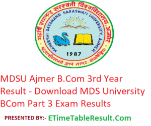 MDSU B.Com 3rd Year Result 2019 - Download BCom Part 3 Exam Results MDS University Ajmer