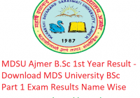MDSU B.Sc 1st Year Result 2019 - Download BSc Part 1 Exam Results MDS University Ajmer