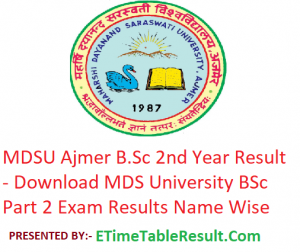 MDSU B.Sc 2nd Year Result 2019 - Download BSc Part 2 Exam Results MDS University Ajmer