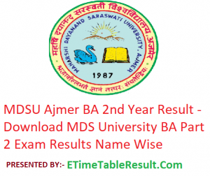MDSU BA 2nd Year Result 2019 - Download ba Part 2 Exam Results MDS University Ajmer