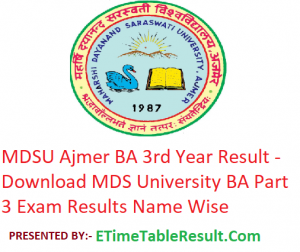 MDSU BA 3rd Year Result 2019 - Download ba Part 3 Exam Results MDS University Ajmer
