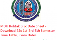 MDU Rohtak B.Sc Date Sheet 2018-19 - Download 1st-3rd-5th Semester Time Table, Exam Dates