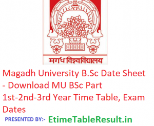 Magadh University B.Sc Date Sheet 2019 - Download MU BSc Part 1st-2nd-3rd Year Time Table, Exam Dates