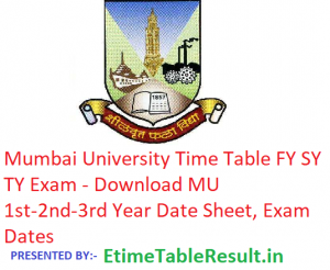 Mumbai University Time Table 2019 FY SY TY - Download MU 1st-2nd-3rd Year Date Sheet, Exam Dates