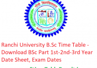 Ranchi University B.Sc Time Table 2019 - Download BSc Part 1st-2nd-3rd Year Date Sheet, Exam Dates