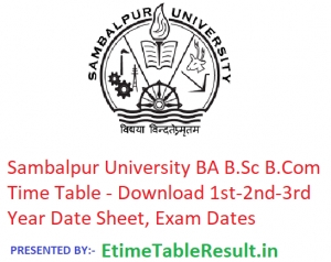 Sambalpur University BA B.Sc B.Com Time Table 2019 - Download 1st-2nd-3rd Year Date Sheet, Exam Dates