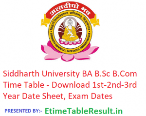 Siddharth University Time Table 2019 - Download BA B.Sc B.Com 1st-2nd-3rd Year Date Sheet, Exam Dates