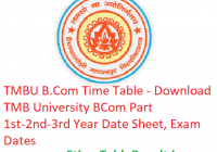 TMBU B.Com Time Table 2019 - Download BCom Part 1st-2nd-3rd Year Date Sheet, Exam Dates