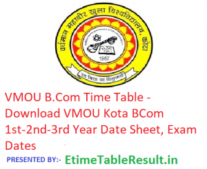 VMOU B.Com Time Table 2019 - Download BCom 1st-2nd-3rd Year Date Sheet, Exam Dates