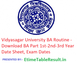 Vidyasagar University BA Routine 2019 - Download Part 1st-2nd-3rd Year Time Table, Exam Dates