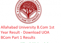 Allahabad University B.Com 1st Year Result 2019 - Download B.Com Part 1 Results UOA Examination