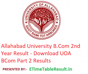 Allahabad University B.Com 2nd Year Result 2019 - Download BCom Part 2 Results UOA Examination