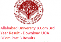 Allahabad University B.Com 3rd Year Result 2019 - Download BCom Part 3 Results UOA Examination