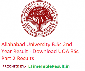 Allahabad University B.Sc 2nd Year Result 2019 - Download BSc Part 2 Results UOA Examination