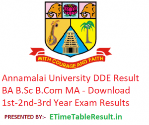 Annamalai University DDE Result 2019 BA B.Sc B.Com MA - Download 1st-2nd-3rd Year Exam Results