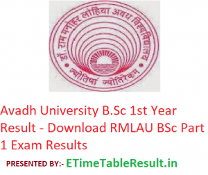 Avadh University B.Sc 1st Year Result 2019 - Download RMLAU BSc Part 1 Exam Results