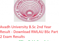 Avadh University B.Sc 2nd Year Result 2019 - Download RMLAU BSc Part 2 Exam Results